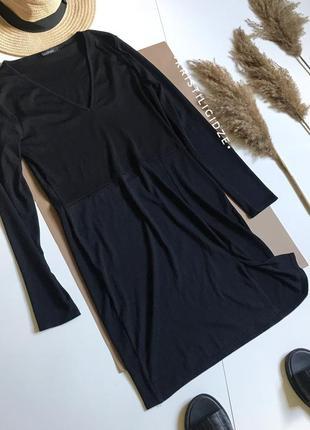 Черное платье в рубчик миди с разрезом s/m