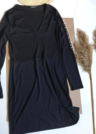 Платье в рубчик миди с разрезом s/m3 фото