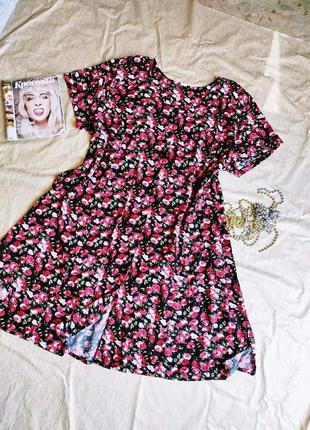 Платье халат в цветочный принт большой размер батал