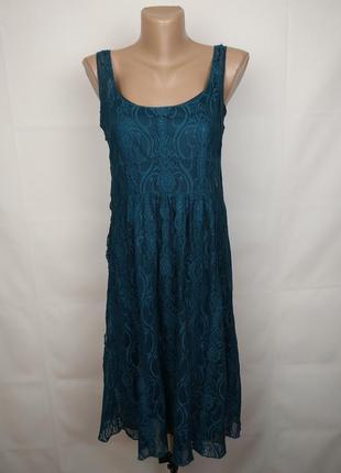 Платье зеленое шикарное гипюровое uk 10/38/s