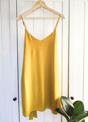 Желтое платье на бретелях от river island, размер l