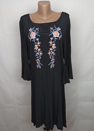 Платье натуральное красивое с вышивкой цветы f&f uk 16/44/xl