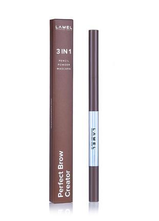 Карандаш тушь для бровей lamel professional perfect brow creator 3в 1