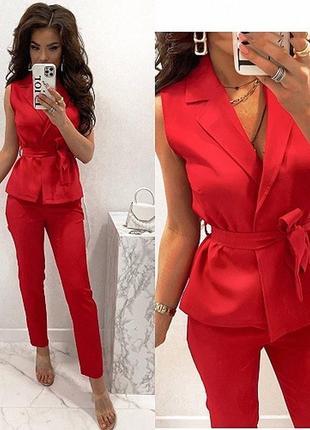 Новый женский стильный яркий красный костюм жилетка