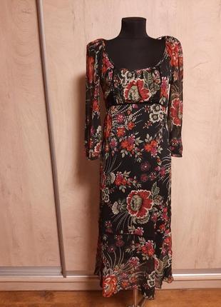 Платье миди с цветами/этно стиль.