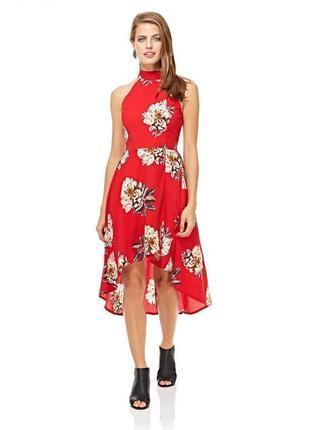 Платье красное новое стильное в цветочный принт uk 16/44/xl