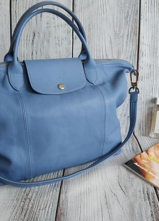 Сумка от люксового бренда longchamp в голубом цвете