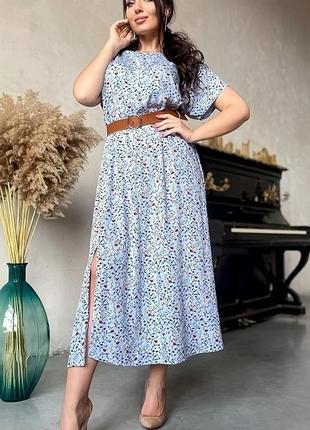 Новое женское стильное лёгкое платье миди большого размера батал полубатал небесный голубой цвет с поясом платье.