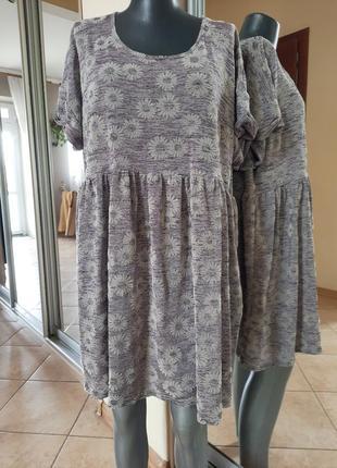 Стильное в ромашки платье 👗туника большого размера