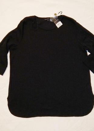 Новая черная кофта в рубчик большой размер