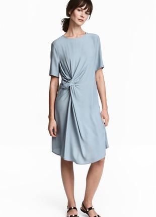 Платье плаття средней длины с узлом вискоза креп качественное пыльно голубое h&m