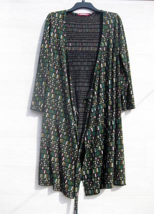 Трикотажное котоновое тёмно зелёное разноцветное платье халат на запах indiska
