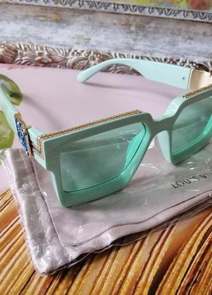 Эксклюзивные брендовые мятные солнцезащитные очки унисекс millionaire 2021 с фирменным пыльником