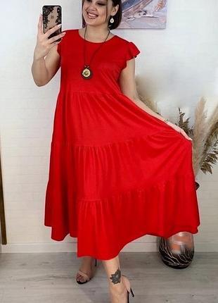 Новое женское стильное кочевое платье миди батал полубатал большой размер