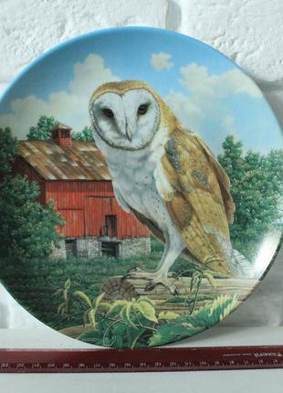 Декоративна тарілка з совою. the barn oul by jim beaudoin