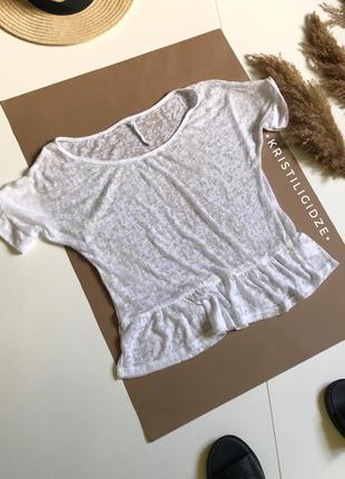 Лёгкая белая футболка с баской next 12/l