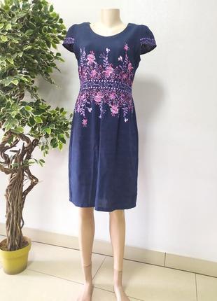 Літнє синє льон легке плаття жіноче  стильне р.48/50