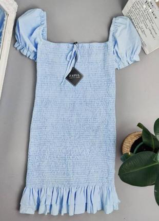 Голубое платье резинка с рукавами буфами и воланами zaful