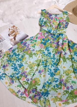 Яркое цветочное платье с поясом большого размера винтаж ретро