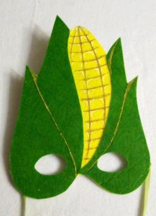 Карнавальная маска из фетра кукуруза