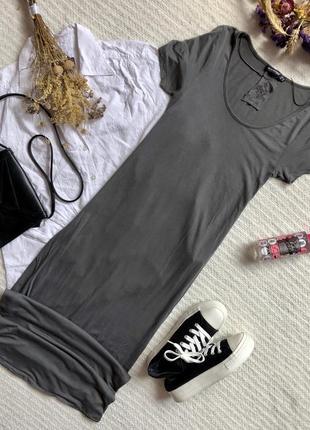 Летнее платье миди серого цвета