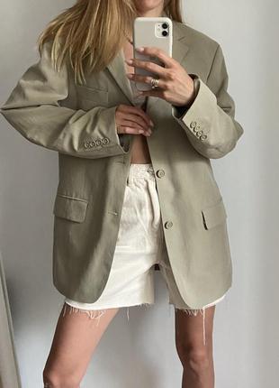 Пиджак оверсайз лен льняной жакет свободного кроя