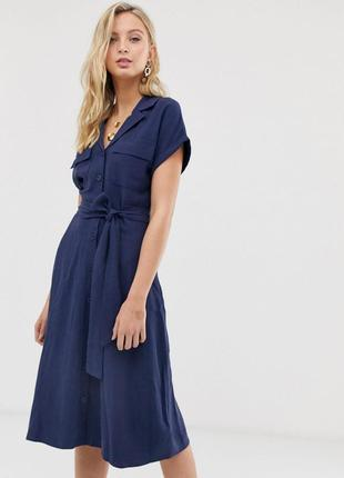 Женское платье-рубашка миди из смесового льна с поясом