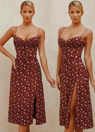 Распродажа платье glamaker миди с завязкой на груди с asos