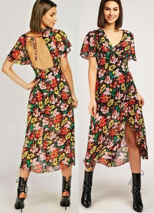 Распродажа натуральное платье topshop миди/макси с разрезом и полуоткрытой спиной с asos