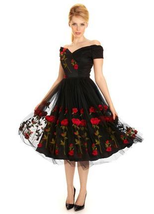 Черное платье в стиле d&g с красными розами пышная юбка ретро винтаж