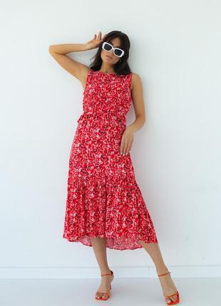 Летнее платье с оборкой на талии  артикул:3317