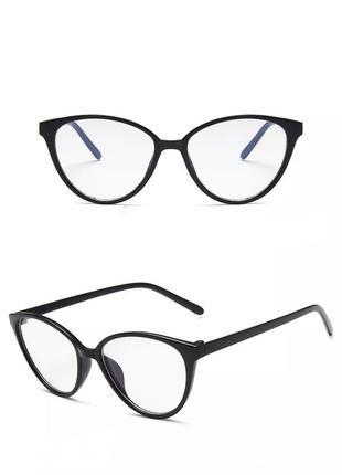 Очки кошечки антиблик черные для чтения с экрана с защитой от синих бликов окуляри антиблік