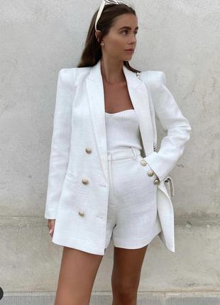 Шикарный белый пиджак стиль zara