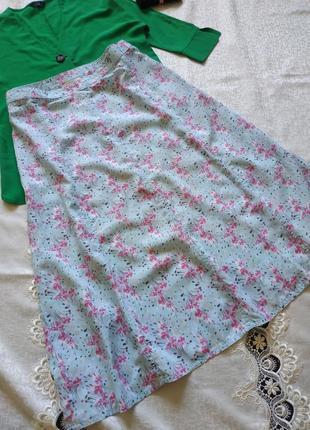 Натуральная юбка в цветочный принт