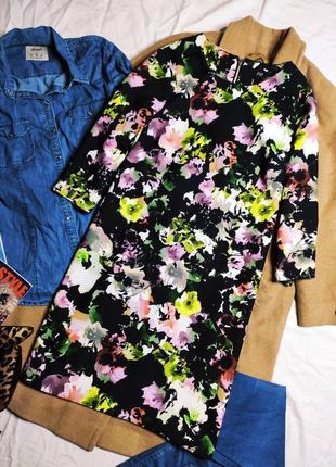 F&f платье чёрное прямое трапеция в принт цветы большое свободное оверсайз рукав 3/4