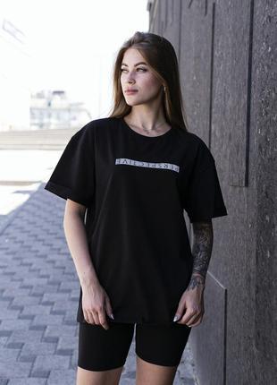 Женский костюм чёрный футболка +шорты с рефлективным принтом