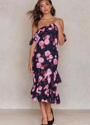 Na kd платье чёрное новое розовый цветочный принт розы миди с открытыми плечами