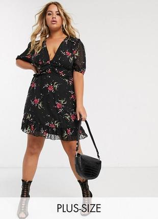 Boohoo платье чёрное в цветочный принт красное большое батал на пуговицах на подкладке