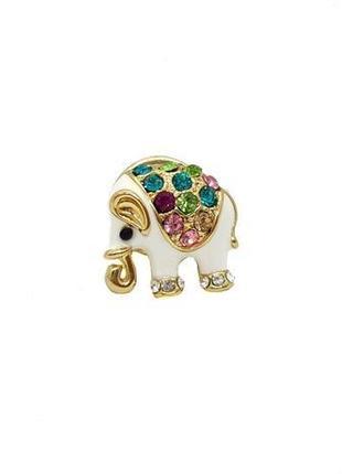 """💎🐘 миниатюрная брошка-пин """"слон"""" эмаль, кристаллы"""