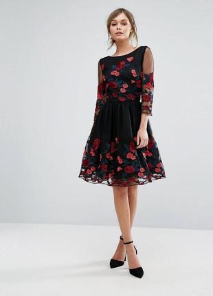 Chi chi london платье чёрное миди с фатином пышное вышивка цветы принт рукав 3/4