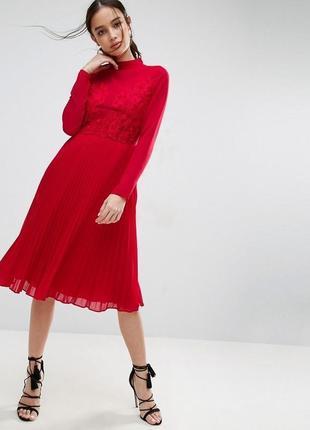Asos асос платье красное миди плиссированное плиссе кружево гипюр сеточка классическое