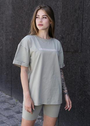 Женский костюм футболка +шорты с рефлективным принятом оливковый