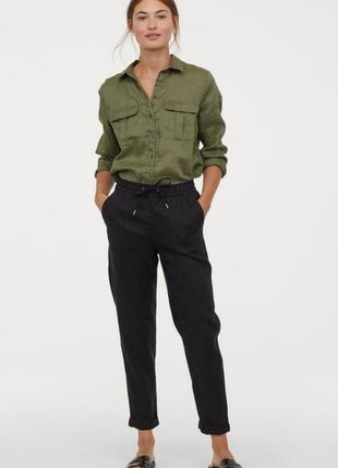 H&m зелёная рубашка с льна