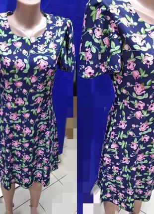 Платье летнее полубатал в цветочный принт
