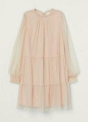 Шикарное персиковое платье от h&m размер 46-50