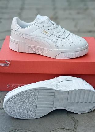 Стильные кроссовки puma cali белые, кожаные, женские