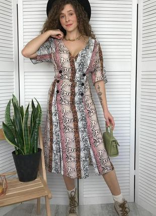 Натуральное легкое миди платье в актуальный принт