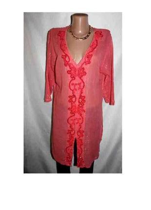 Туника блузка рубашка тонкая алая батист хлопок индия 48-54р лето