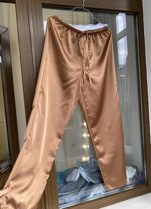Сатиновые шелковые брюки в бельевом стиле lingerie