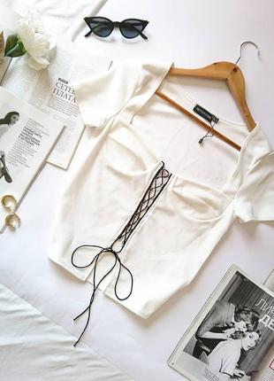 💔 трендова блуза/топ на шнурівці, по фігурі від plt, на р. xs/s 💔